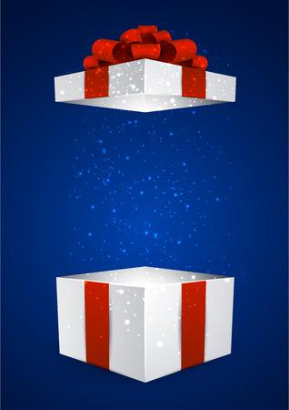 Geopend 3d realistische geschenkdoos met rode strik. Vector illustratie.