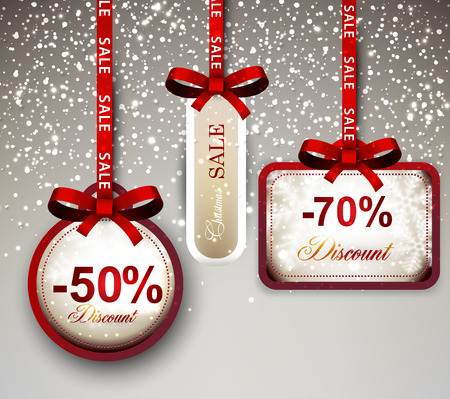 discount: Set of sale and discount paper labels with red bows and ribbons. Vector.