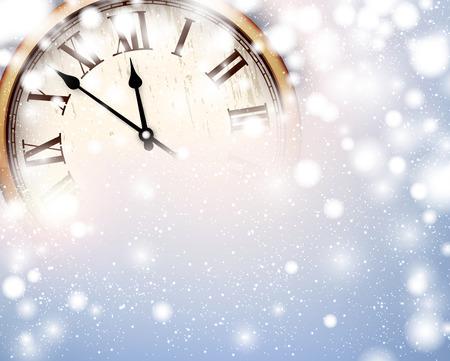 vintage clock: Vintage clock over snowfall christmas background. New year vector illustration.