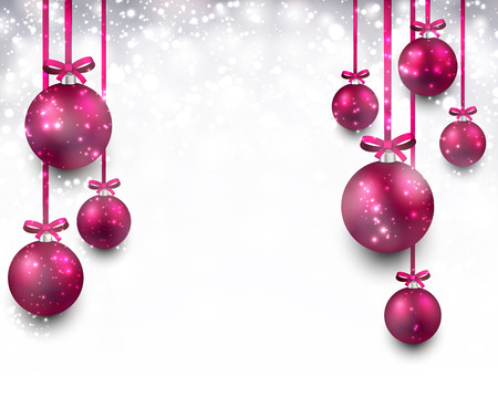 Abstract background with magenta christmas balls. Vector illustration.