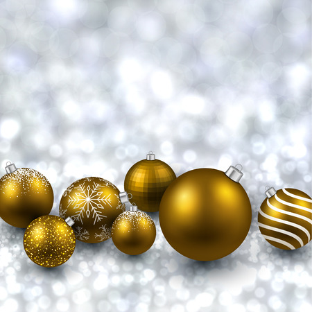 Silver defocused with golden christmas balls background. Bright bokeh. Vector illustration. Vector