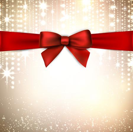 fondo para tarjetas: Fondo de invierno con copos de nieve crystallic con arco de regalo rojo. La decoraci�n de Navidad. Vector.