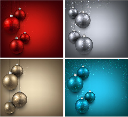 Abstract backgrounds with color christmas balls. Vector illustration. Vector