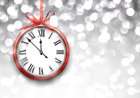 time of the year: Vintage clock over defocused silver christmas background. New year vector illustration. Illustration
