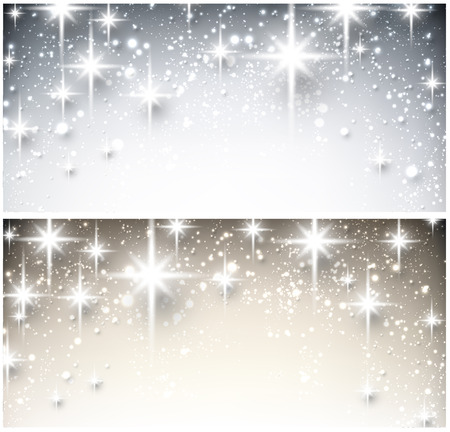Shiny starry christmas banners. Vector Illustration. Vector