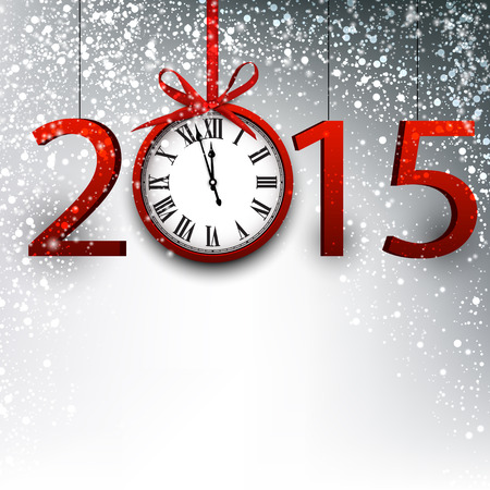 2015 new year background with vintage clock. Vector illustration. Vector
