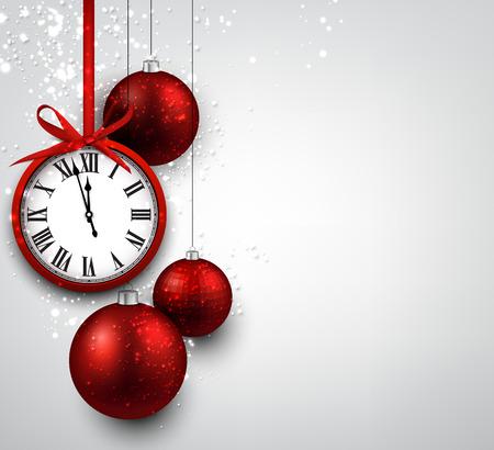 Fondo del Año Nuevo con bolas de navidad de color rojo y reloj de la vendimia. Ilustración del vector.