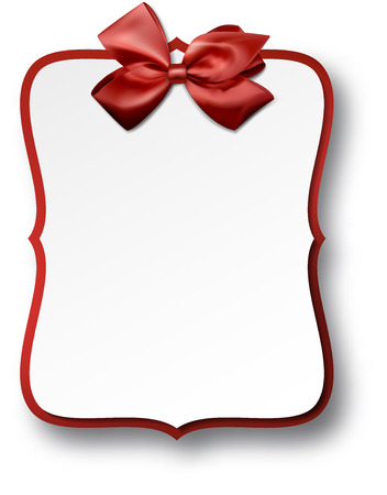 Christmas gift card with red ribbon and satin bow. Vector illustration. Vector
