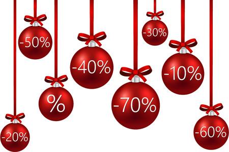 Set of red sale christmas balls background. Vector illustration. Vector