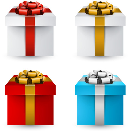 Collection of 3d closed gift boxes with satin bows. Realistic vector illustration.