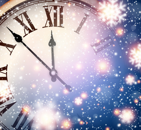 Vintage clock over snowfall christmas background. New year vector illustration. Vector