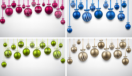 3d ball: Abstract backgrounds with color christmas balls. Vector illustration. Illustration