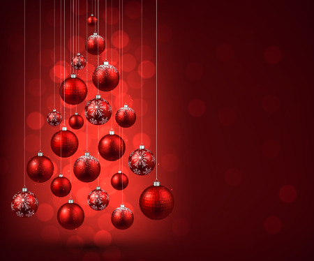 snow and trees: Christmas tree with red christmas balls. Vector illustration.