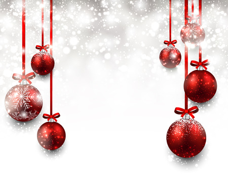 christmas bows: Abstract background with red christmas balls. Vector illustration.