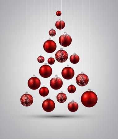 Christmas tree with red christmas balls. Vector illustration.
