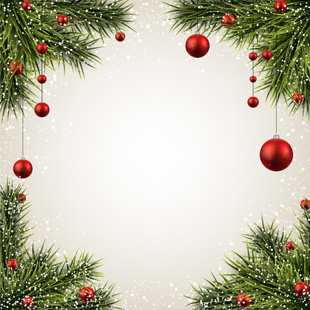 christmas frame: Winter background with spruce twigs and red baubles. Christmas vector frame. Eps10.