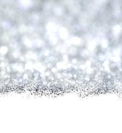 Silver defocused christmas background. Bright bokeh. Vector illustration. Vector