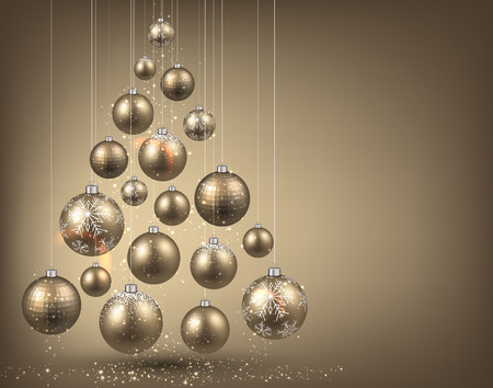 Árbol de Navidad con bolas de Navidad de oro. Ilustración del vector. Ilustración de vector