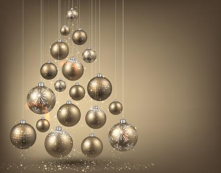 mo�os navide�os: �rbol de Navidad con bolas de Navidad de oro. Ilustraci�n del vector.