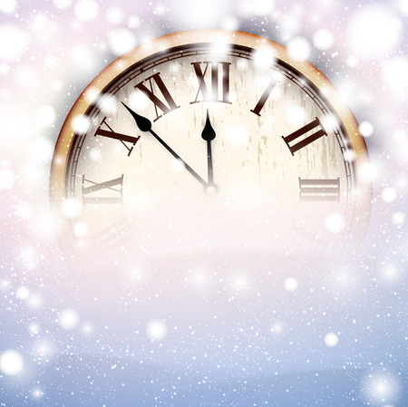 happy new year card: Vintage clock over snowfall christmas background. New year vector illustration.