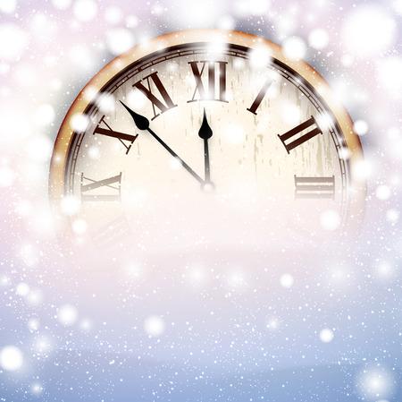 Vintage klok over sneeuwval kerst achtergrond. Nieuwe jaar vector illustratie.
