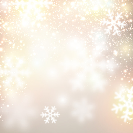 Golden winter abstract background. Christmas background with snowflakes. Vector. Vector
