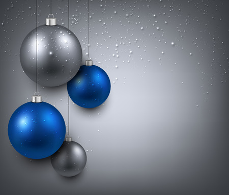 silver: Abstract background with blue christmas balls. Vector illustration.