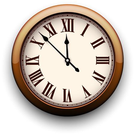 reloj antiguo: Antiguo reloj con números romanos. Ilustración del vector. Vectores