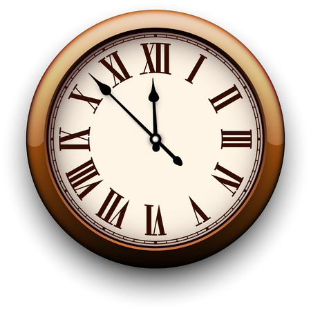 object with face: Old clock with roman numbers. Vector illustration.