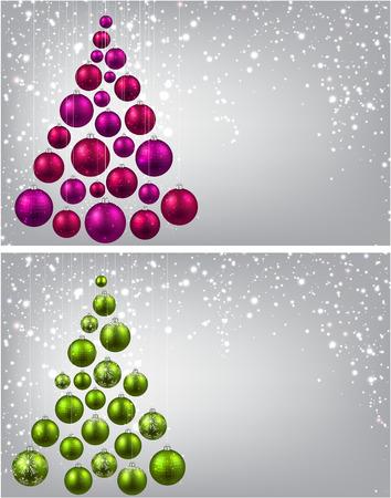 Christmas tree with colorful christmas balls. Vector illustration.