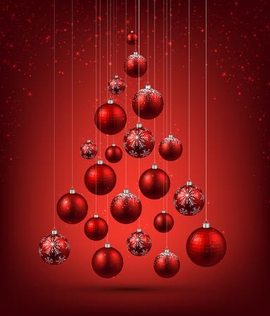 Albero di Natale con palle di Natale rosso. Illustrazione vettoriale.