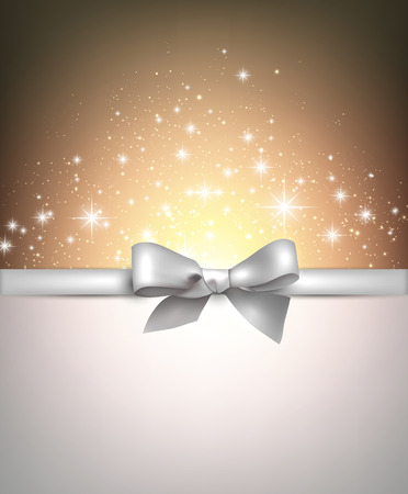 Shiny blue starry christmas background with red bow. Vector Illustration. Vector