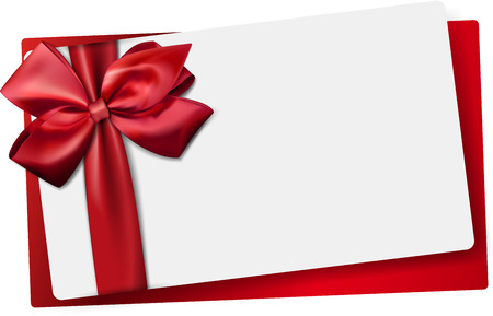 Gift card with ribbon and satin red bow. Vector illustration. Vettoriali