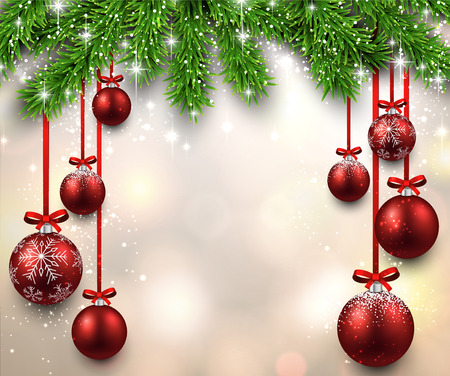 Christmas illustration with fir twigs and red balls. Vector background. Vettoriali