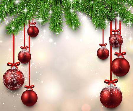 muerdago navideÃ?  Ã? Ã?±o: Ilustración de Navidad con ramas de abeto y bolas rojas. Vector de fondo.