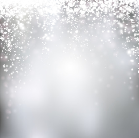 sparkles: Silver winter abstract background. Christmas background with snowflakes. Vector.