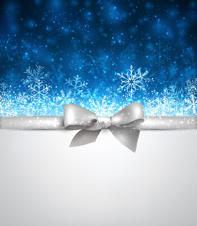 blue bow: Shiny blue christmas background with silver bow. Vector winter Illustration.