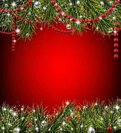 twigs: Winter background with spruce twigs and red baubles. Christmas vector frame. Eps10.