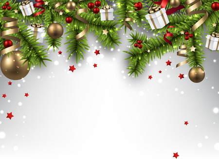 Winter banner  with spruce twigs and colorful baubles. Christmas vector illustration. Eps10.