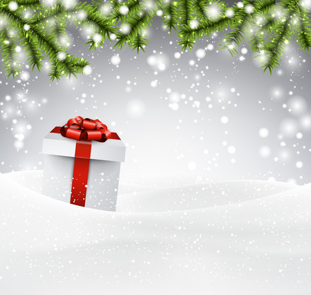 twigs: Winter abstract background with spruce twigs and gift box. Christmas vector wallpaper. Eps10.