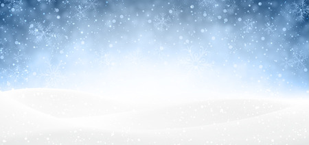 winter landscape: Winter banner with snow Illustration