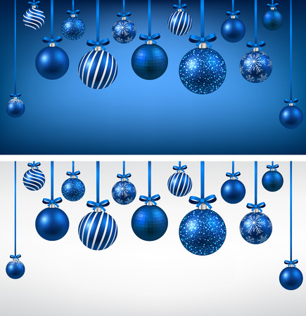 christmas balls: Abstract arc background with blue christmas balls. Vector illustration.