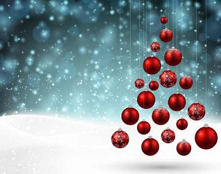 christmas tree ball: Winter background with christmas tree. Blue defocused illustration. Eps10 vector.