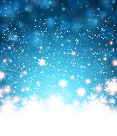 snow track: Winter blue background. Fallen defocused snowflakes. Christmas. Vector. Illustration