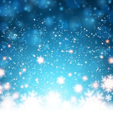 fallen: Winter blue background. Fallen defocused snowflakes. Christmas. Vector. Illustration