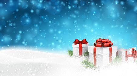 horizontal: Winter background with snow. Gift boxes. Christmas blue defocused illustration. Eps10 vector.