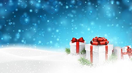 Zimní pozadí se sněhem. Dárkové krabičky. Vánoční modré defocused ilustrace. EPS10 vektorový.