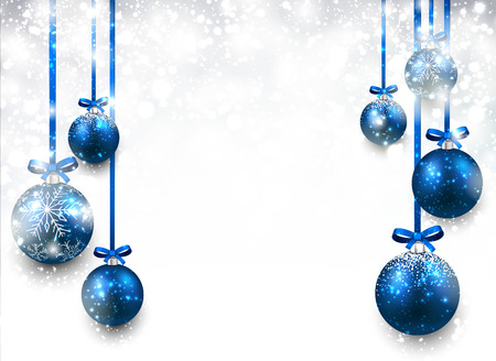 baubles: Abstract background with blue christmas balls. Vector illustration.
