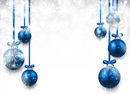 nouvel an: Résumé de fond avec des boules de Noël bleu. Vector illustration.