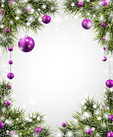 Winter background with spruce twigs and purple baubles.  Illustration